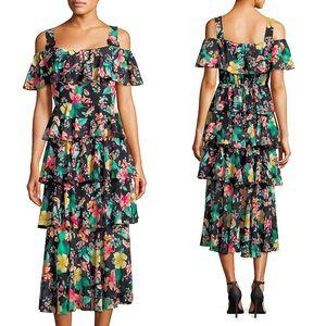 Laundry by Shelli Segal Tiered Ruffled Midi Dress
